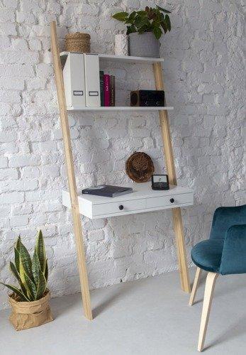 LENO Ladder Shelf Desk 79x183cm - Ashwood / White
