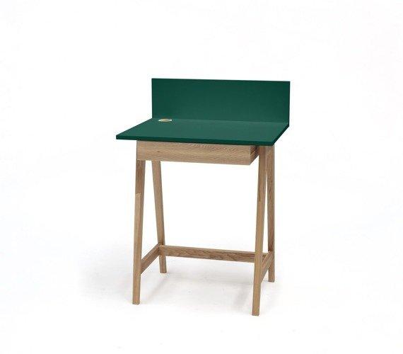 LUKA Ashwood Writing Desk 65x50cm with Drawer / Bottle Green