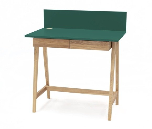 LUKA Ashwood Writing Desk 85x50cm with Drawer / Bottle Green