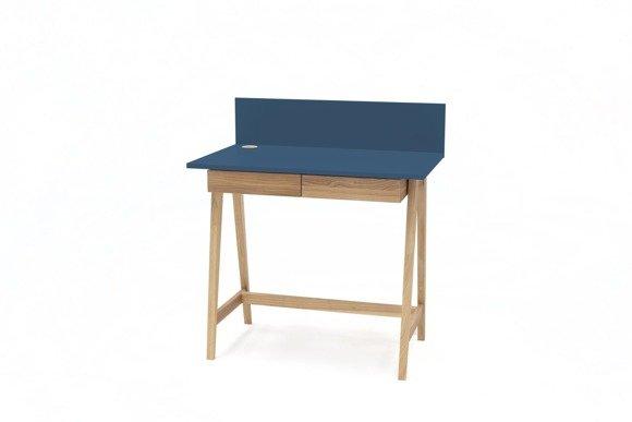 LUKA Ashwood Writing Desk 85x50cm with Drawer / Petrol Blue