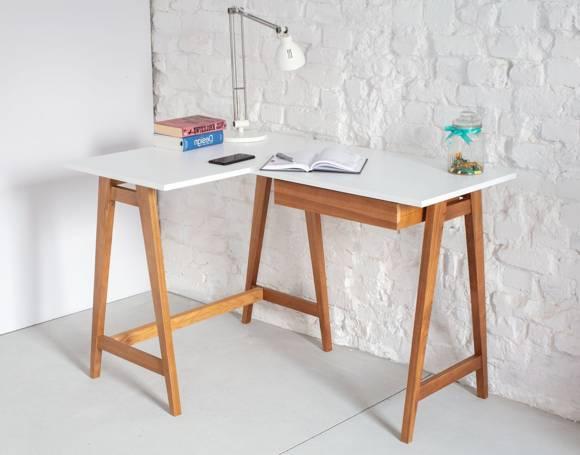 LUKA Corner Desk W 115cm x D 85cm / White Oak Left Side