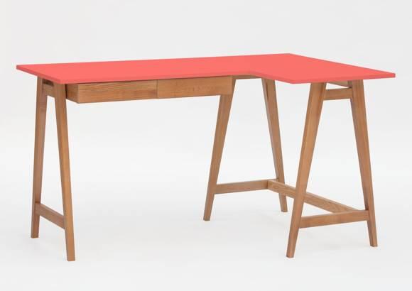 LUKA Corner Desk W 135cm x D 85cm / Living Coral Oak Right Side