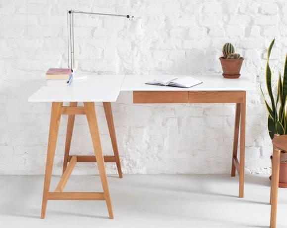 LUKA Corner Desk W 135cm x D 85cm / White Oak Left Side