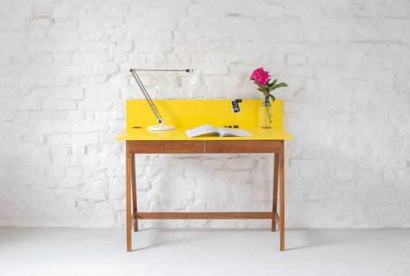 LUKA Writing Desk 110x50cm with Drawer Oak / Dark Grey