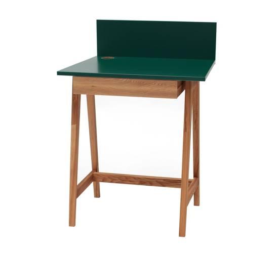 LUKA Writing Desk 65x50cm with Drawer Oak / Bottle Green