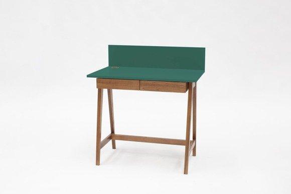 LUKA Writing Desk 85x50cm with Drawer Oak / Bottle Green