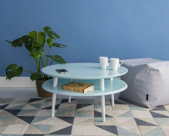 UFO Coffee Table Diam 70cm x Height 35cm - Light Turquoise/White