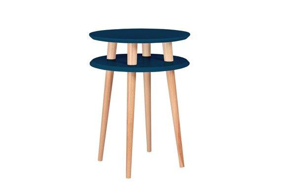 UFO Side Table diam. 45cm x height 61cm - Petrol Blue / White Legs