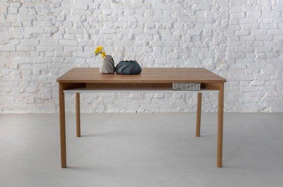 ZEEN Dining Table with Shelf 140x90x75cm - Oak