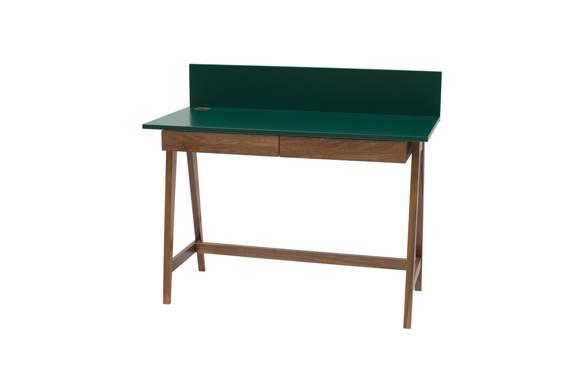 LUKA Schreibtisch 110x50cm mit Schublade Eiche / Flaschengrün