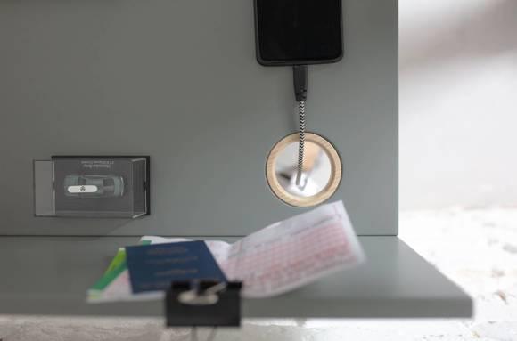 LUKA Schreibtisch 110x50cm mit Schublade Eiche / Weiß