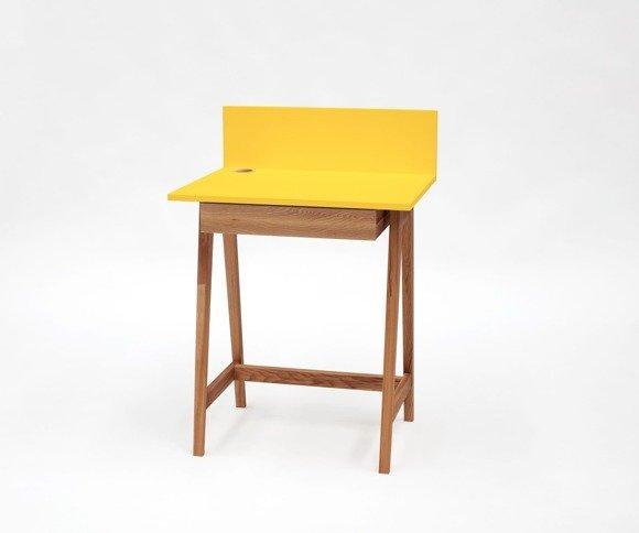 LUKA Schreibtisch 65x50cm mit Schublade Eiche / Gelb