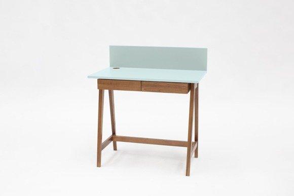 LUKA Schreibtisch 85x50cm mit Schublade Eiche / Helles Türkis