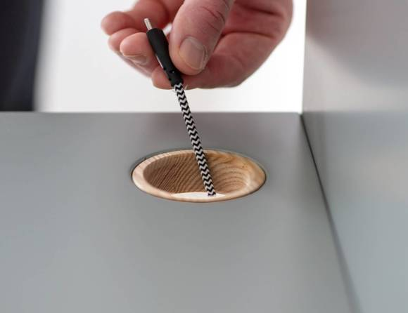 LUKA Schreibtisch 85x50cm mit Schublade Eiche / Marineblau