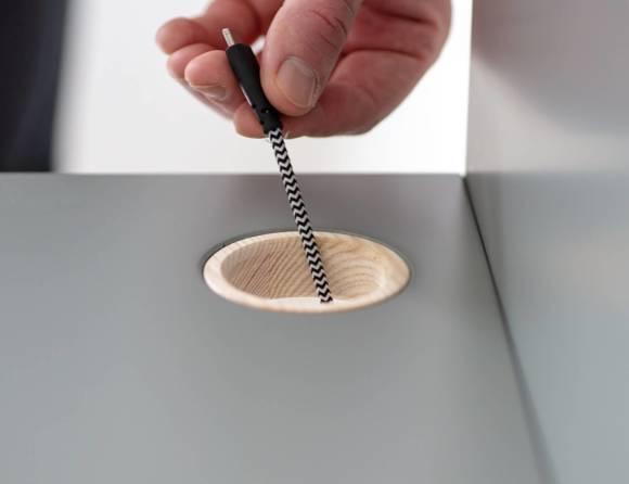 Luka Eschenholz Schreibtisch 110x50cm mit Schublade / Marineblau