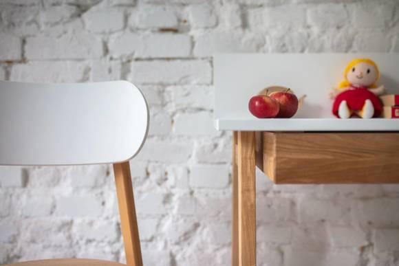 Luka Eschenholz Schreibtisch 110x50cm mit Schublade / Weiß