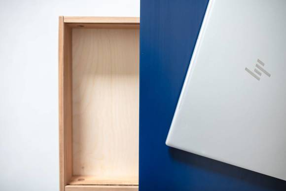 Luka Eschenholz Schreibtisch 65x50cm mit Schublade / Dunkelgrau