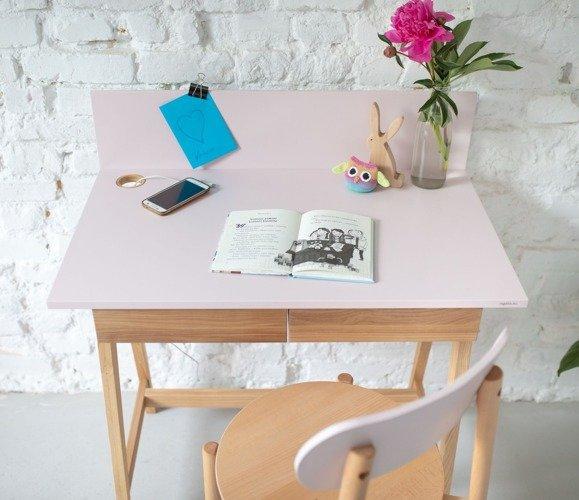 Luka Eschenholz Schreibtisch 85x50cm mit Schublade / Gelb