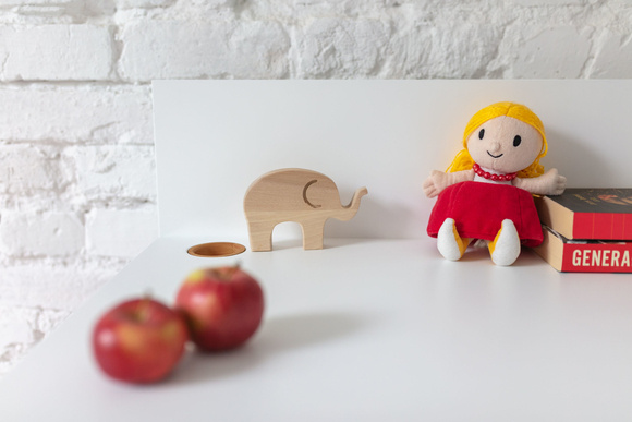 Luka Schreibtisch 110x50cm Eiche / Rot