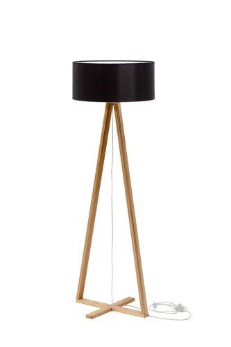 TALES Eschenholz Stehlampe - Schwarz Lampenschirm