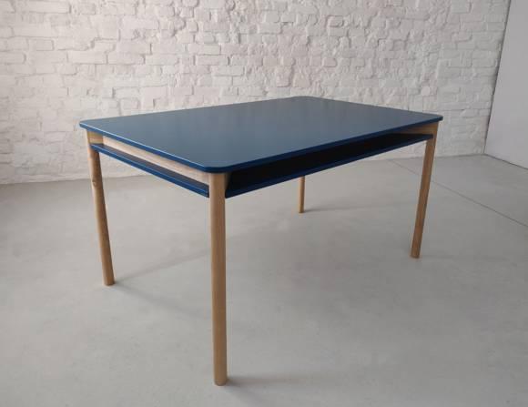 ZEEN Esstisch mit Regal 140x90x78cm Eschenholz Petrol Blue